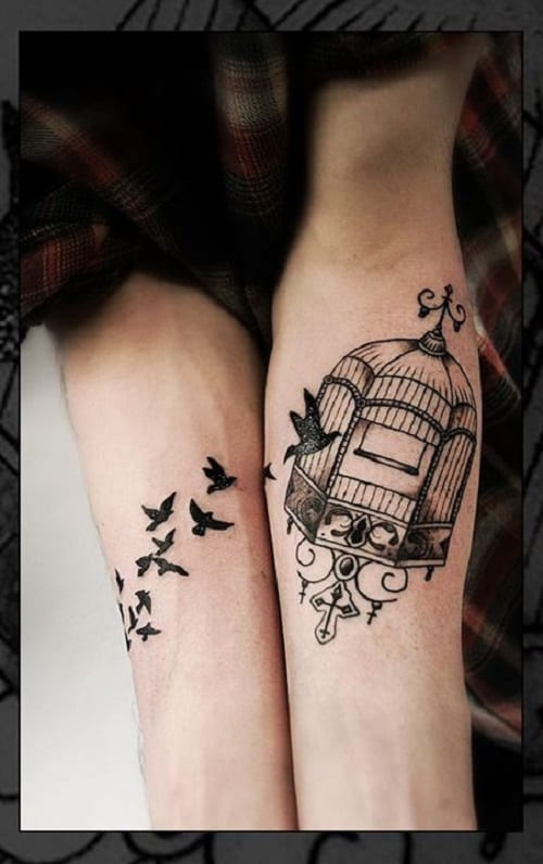 Flying Inside the Cage Bird Tattoo