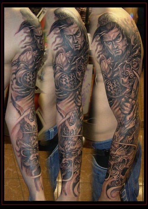 Handsome Samurai Tattoo on Sleeve