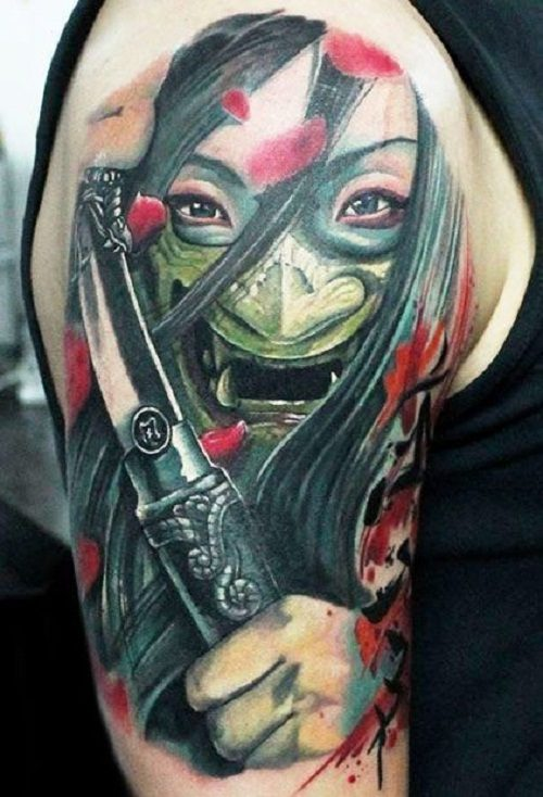 018a99f2fb36a Japanese Samurai with Mask Tattoo. Another popular design element commonly  seen in Samurai designs is the symbol of yin and yang, which complement  each ...