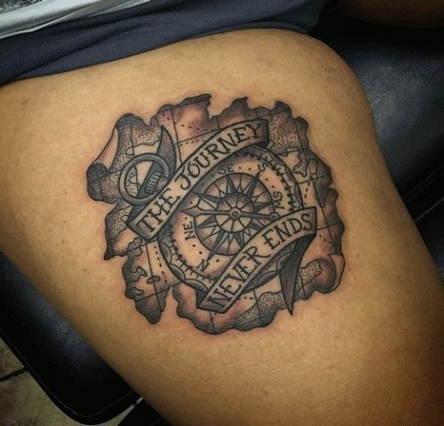 Journey Never Ends Compass Tattoo with Map