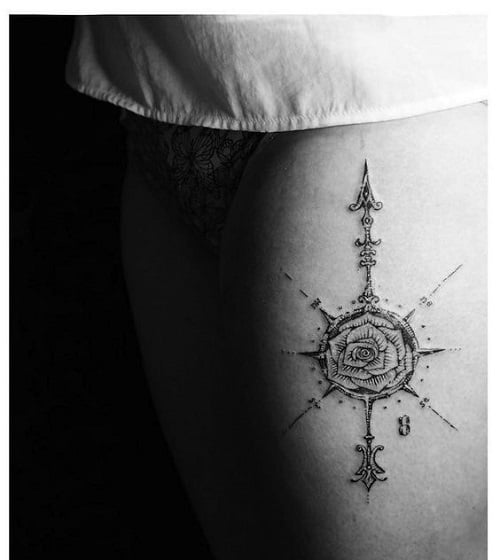 Leg Compass Tattoo with Rose