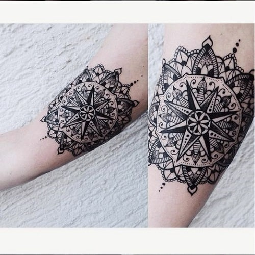 Mandala Compass Tattoo for Ladies