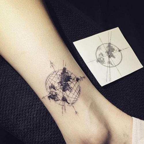 Minimalist Compass Tattoo with Earth on Ankle