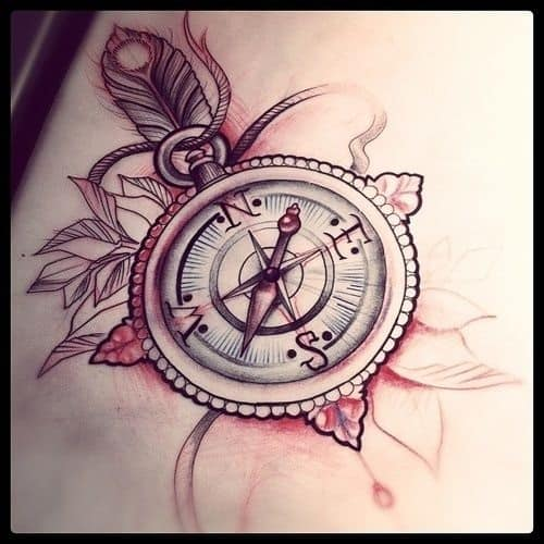 Most Beautiful Compass Tattoo with Leaves and Feather