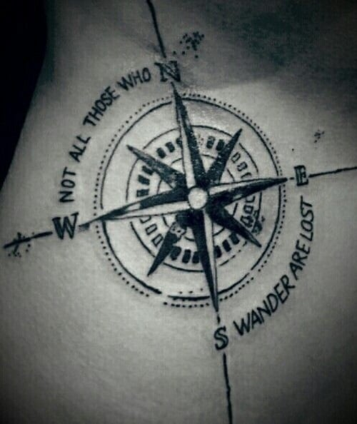 Not All Those who Wander are Lost Compass Tattoo Image