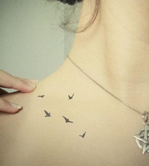 Pretty Bird Tattoos on Shoulder