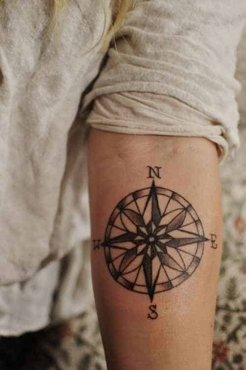 Pretty Compass Tattoo on Arm