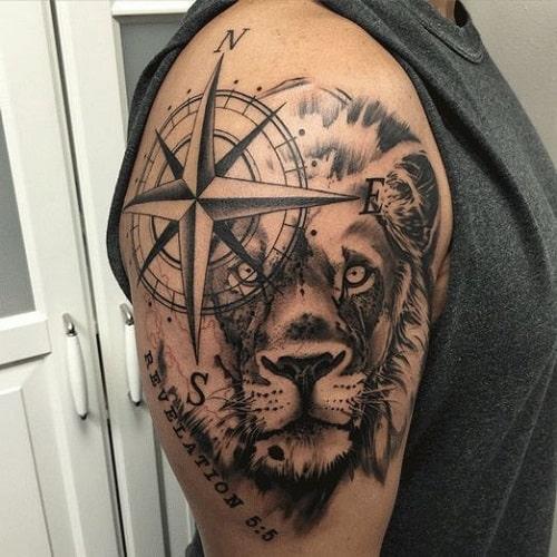 Revelation Lion Compass Tattoos for Men