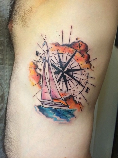 Sailing Boat Colorful Compass Tattoo