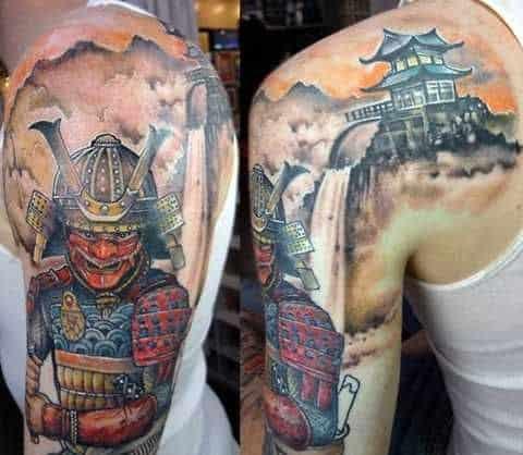 Samurai Saving the Kingdom Tattoo on Upper Back and Arm