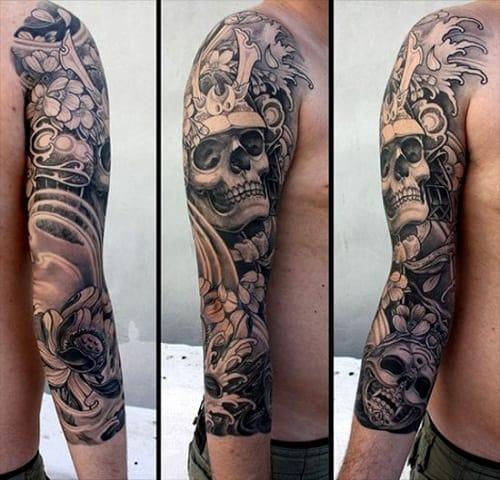 Samurai Skull Tattoo with Cherry Blossoms