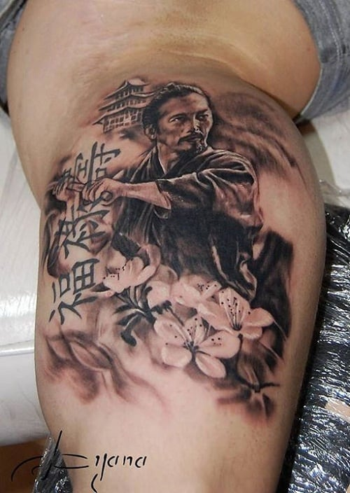 Samurai Tattoo With Castle Flowers And Writing