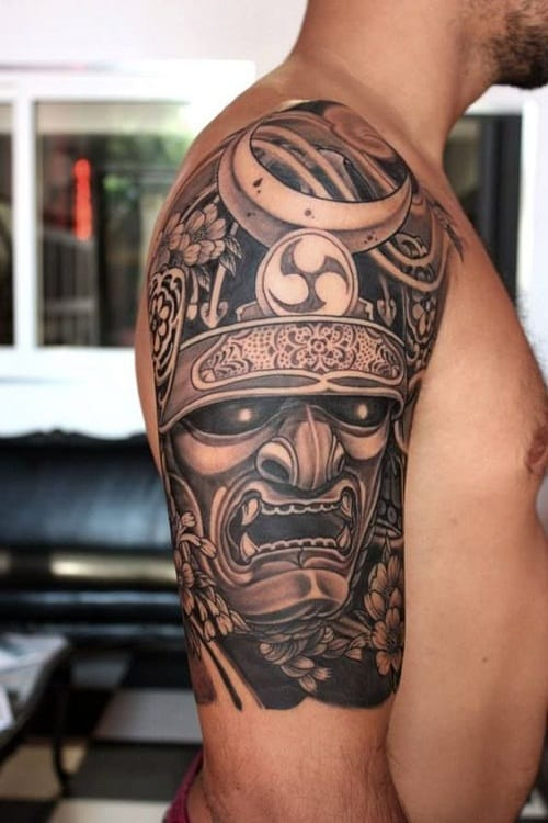 samurai wearing mask tattoo