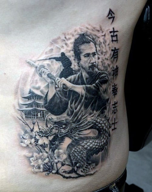 150 samurai tattoos meanings ultimate guide october 2018 for Dragon and samurai tattoo meaning