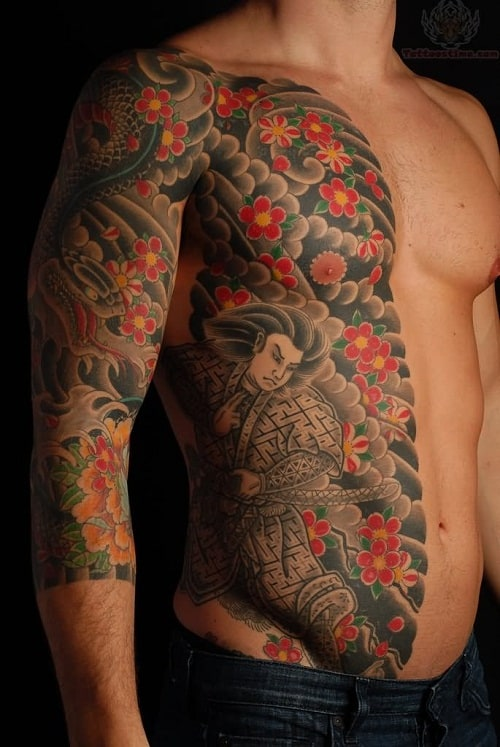 Samurai with Red Flowers Side Tattoo