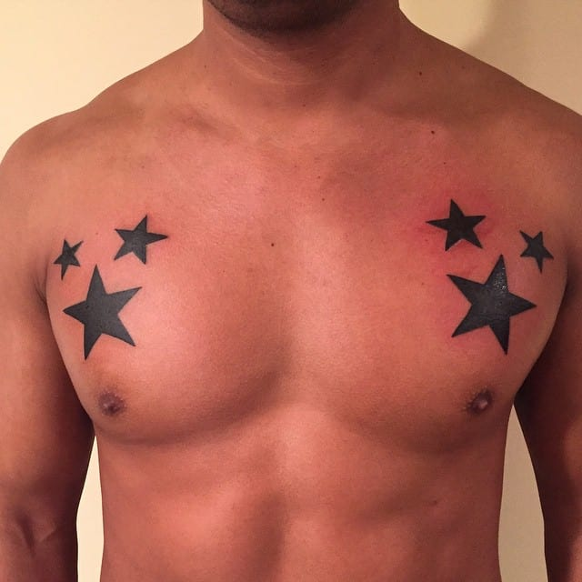 star tattoo on chest
