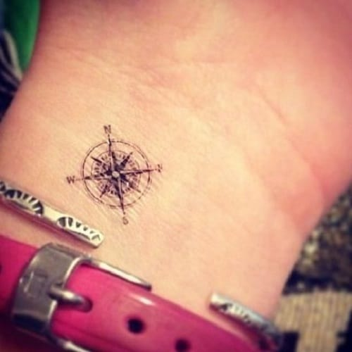 Tiny Compass Tattoo on Wrist