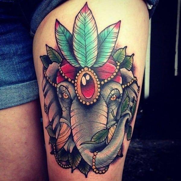 Traditional Elephant Tattoo