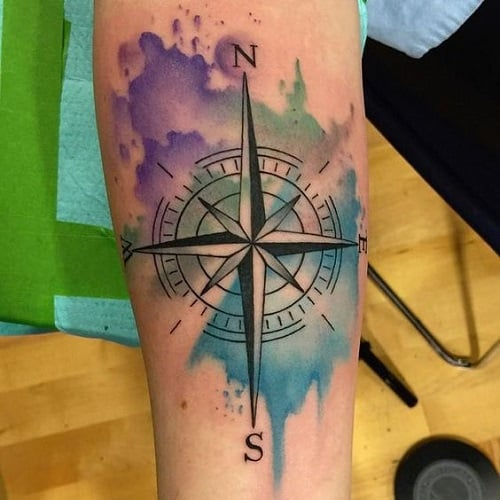 Violet, Green and Blue Compass Tattoo on Arm