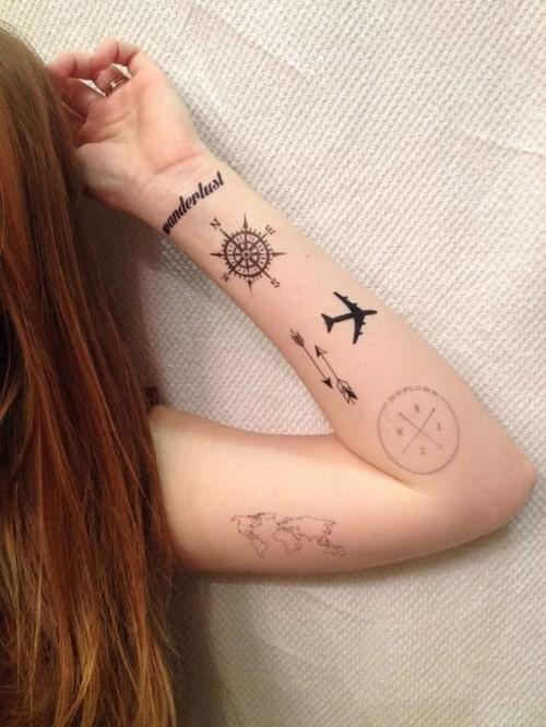 Wanderlust Compass Tattoo on Arm