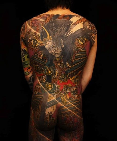Well-Detailed Samurai Tattoo on Entire Back