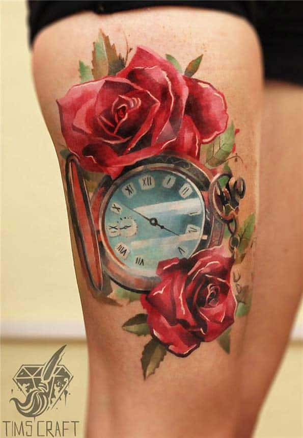 Watercolor Pocket Watch Tattoo by Timscraft