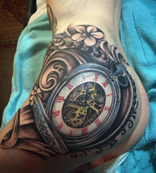 Large Pocket Watch Tattoo by Johnny Smith