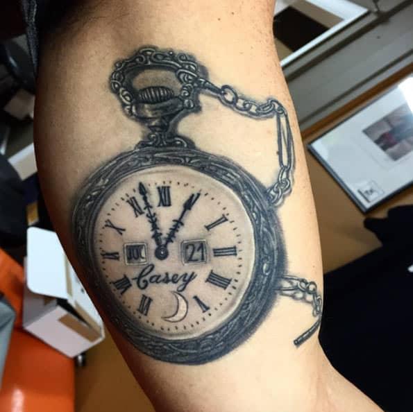 Pocket Watch Tattoo by Javier Eastman