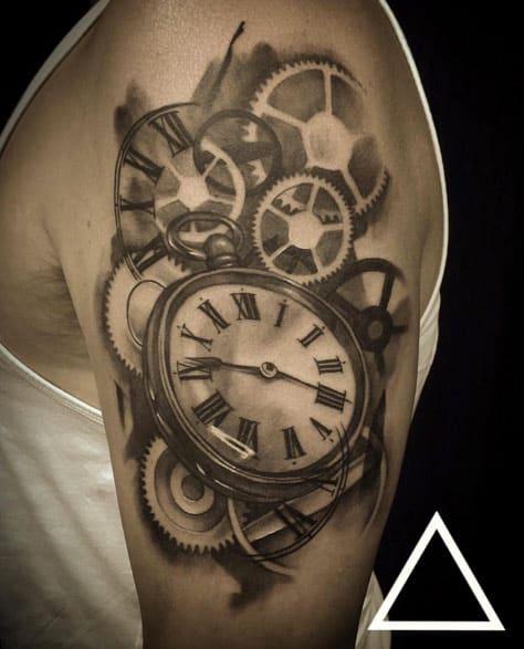 Blackwork Pocket Watch Tattoo by James Donovan