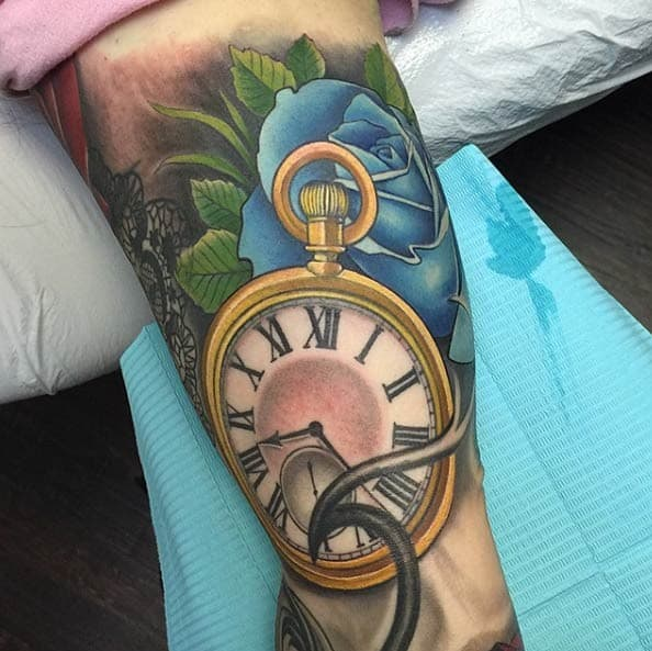 Gold Pocket Watch Tattoo by David Mushaney