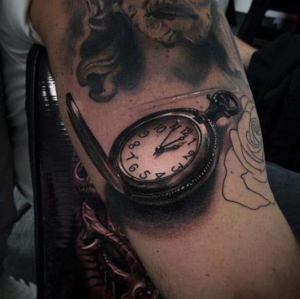 Pocket Watch Tattoo by Alex Bruz