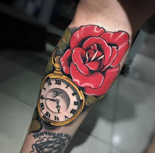 Colorful Pocket Watch Tattoo by Santiago Buriticá