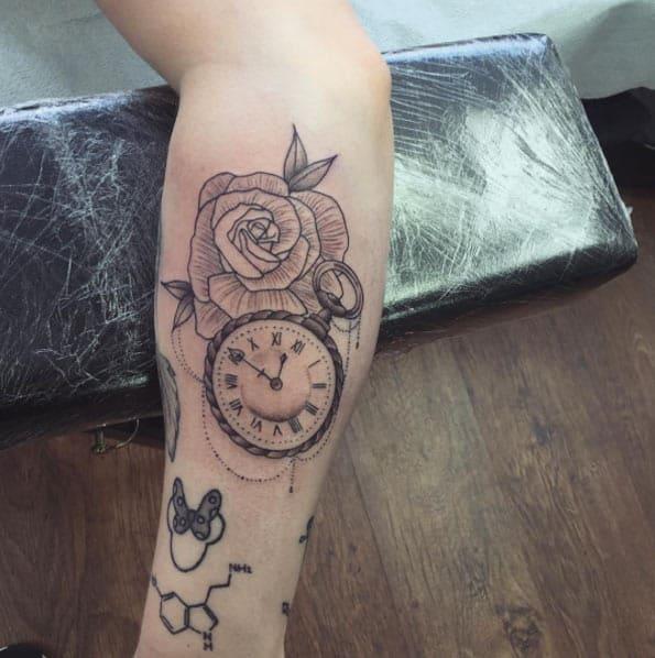 Pocket Watch Tattoo on Forearm by Matt Roe