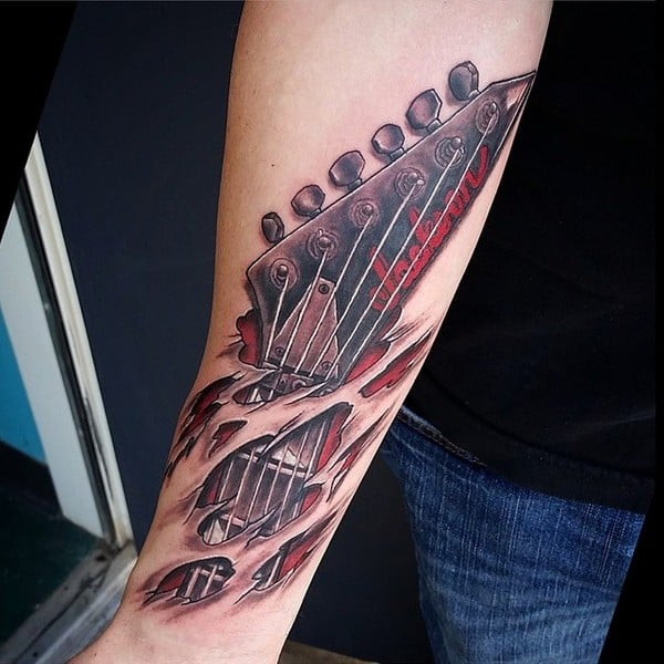 3D Guitar Tattoo