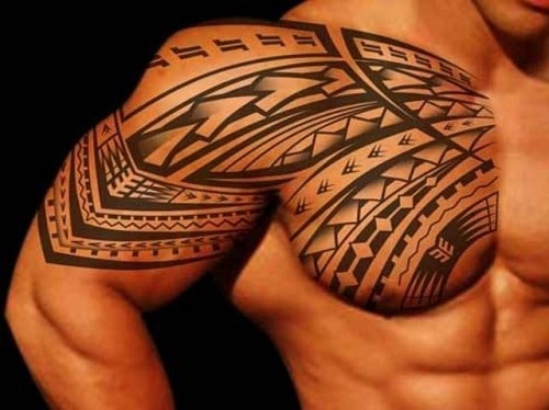 Arm and Chest Great Tribal Tattoos for Men