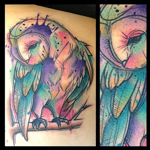 Beautiful Color Splash Owl Tattoo