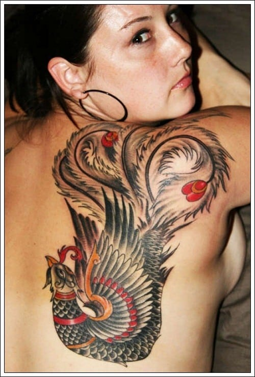 Amazing Bird Tribal Tattoos on Woman's Back