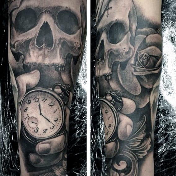 Black And Gray Clock And Skull Tattoos On Bicep: 200 Popular Pocket Watch Tattoo And Meanings (May 2018