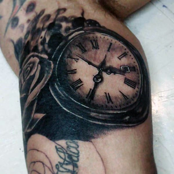 Black Rose And Pocket Watch Tattoo On Arms For Men