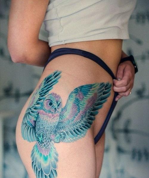 Blue Owl on Hip Tattoo