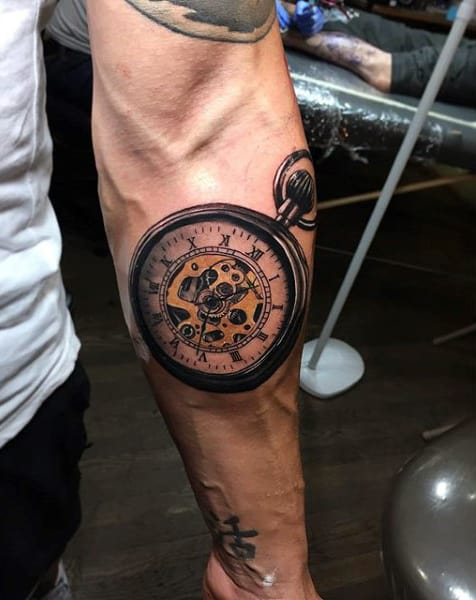 Bold Pocket Watch Tattoo On Forearms Men
