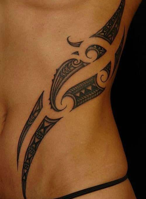 Breathtaking Tummy and Rib Tribal Tattoos