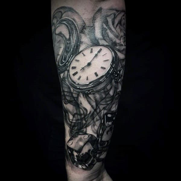 Brilliant Pocket Watch Tattoo For Men Forearms