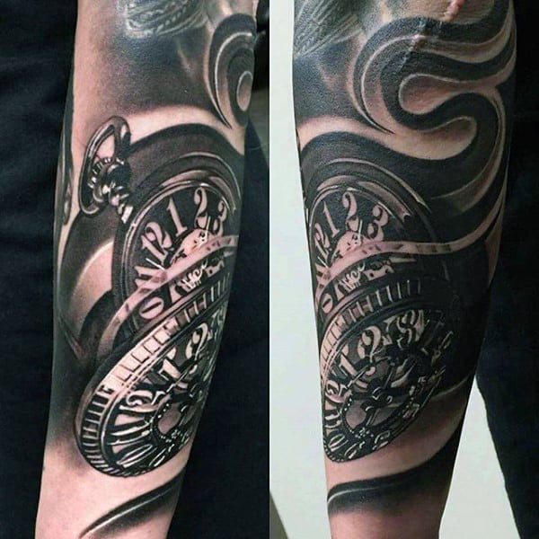 Brownish Pocket Watch Tattoos With Swirls For Guys