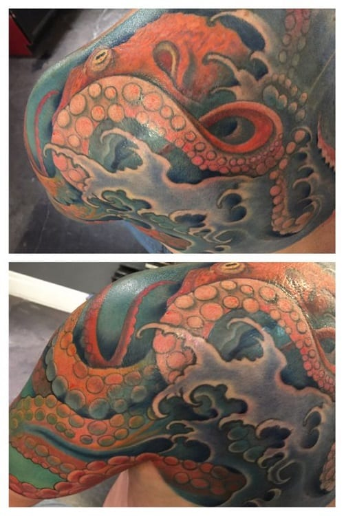 Colorful Underwater Octopus Tattoo