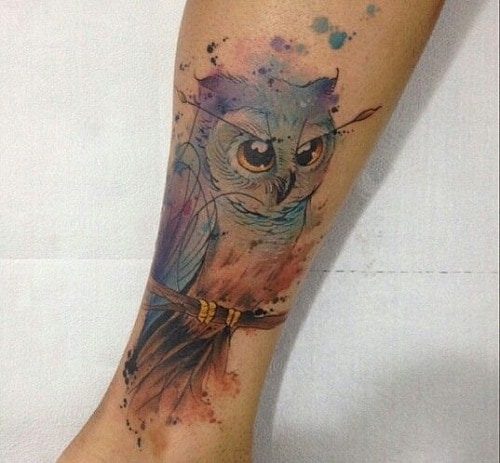 Colorsplash Owl Tattoo on a Branch
