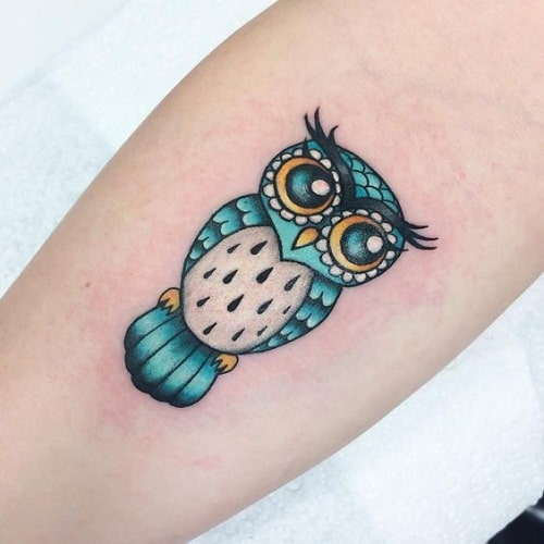 Cute Blue Owl Tattoo on Arm