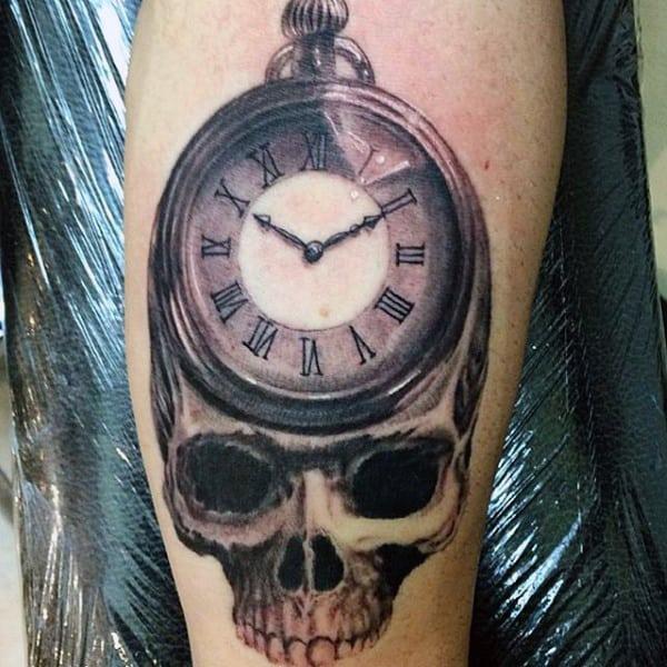 Dark Eyed Skull With Pocket Watch Tattoo On Arms Men