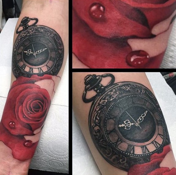 Deep Red Rose With Dew And Pocket Watch Tattoo Forearms Male