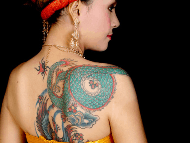 dragon tattoo on upper back